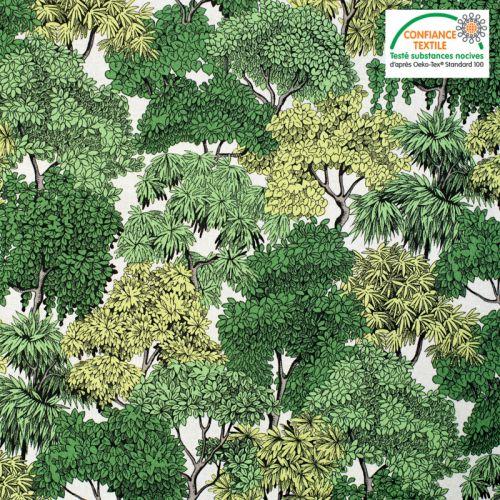 Coton vert motif forêt Oeko-tex