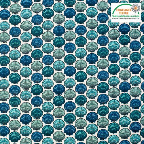 Coton écru motif coquilles saint jacques bleues Oeko-tex