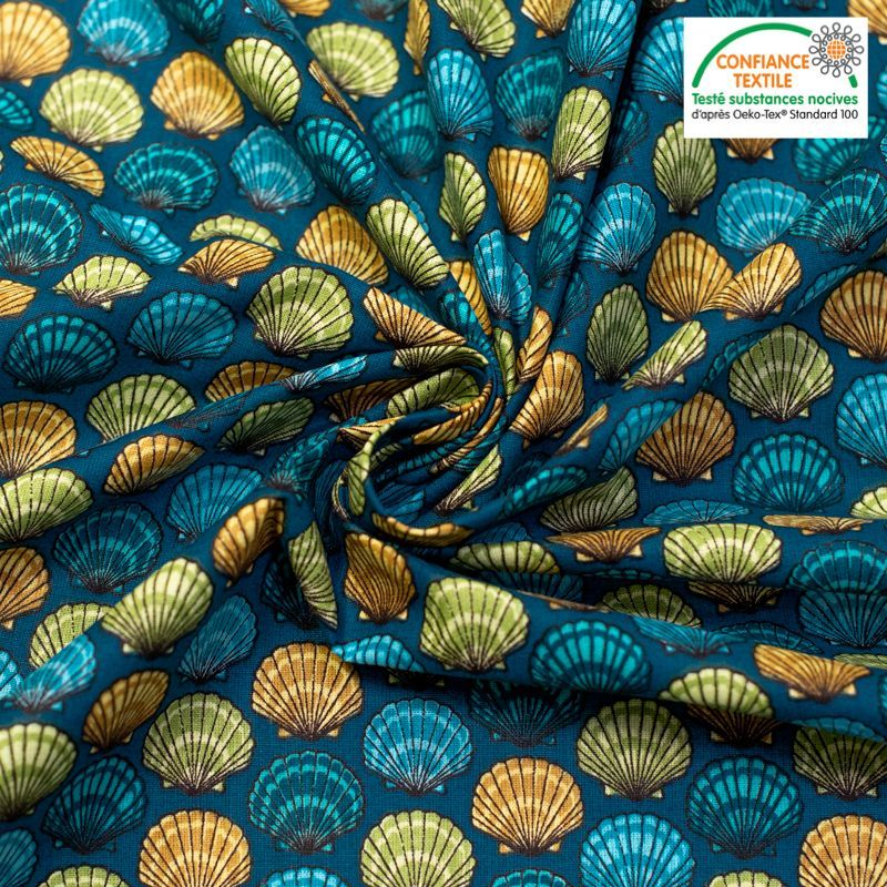 Coton bleu motif coquilles saint jacques vert jaune et bleu Oeko-tex