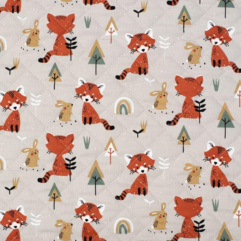 Tissu matelassé enfant grège réversible motif renard et lapin padwan Oeko-tex