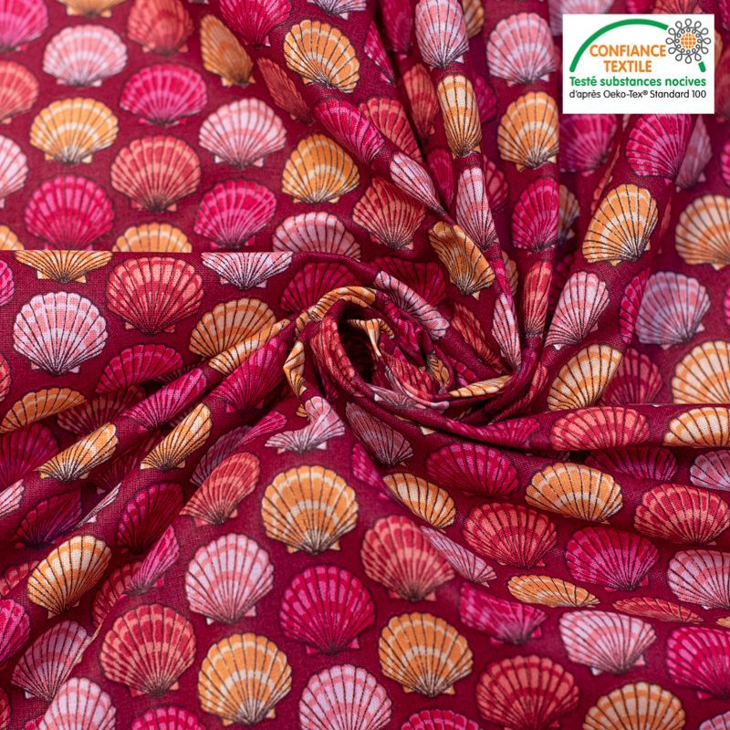 Coton bordeaux motif coquilles saint jacques roses et corail Oeko-tex