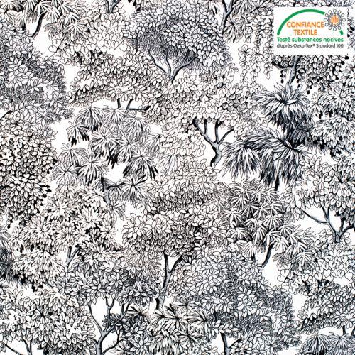 Coton blanc motif forêt Oeko-tex