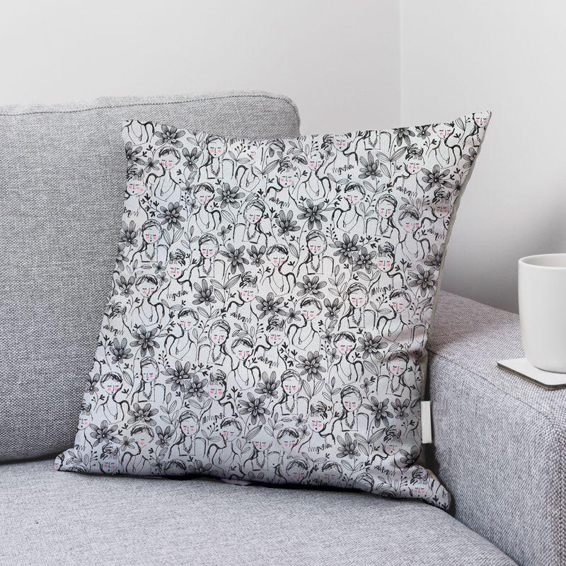 Coton écru motif floral girl Oeko-tex