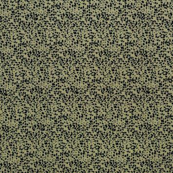 Tissu viscose kaki motif tacheté noir avec fil lurex doré
