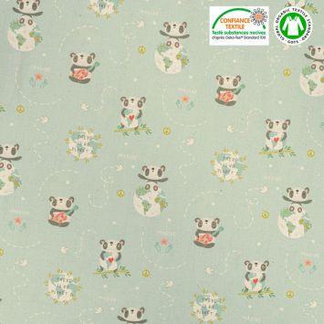 Coton bio naturel bleu motif panda imagine Oeko-tex