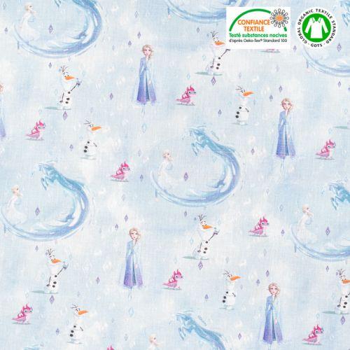 Coton bio motif La Reine des Neiges 2 Oeko-tex
