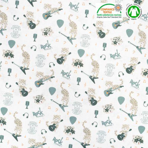 Coton bio blanc motif léopardeau des neiges rock'n'roll Oeko-tex