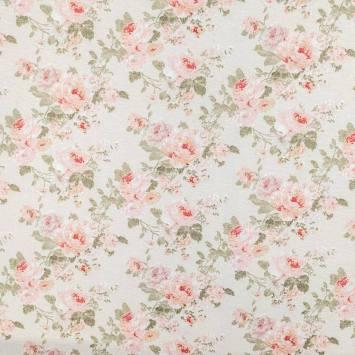 coupon - Coupon 68cm - Toile polycoton écrue imprimée fleur rose