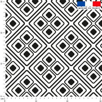 Tissu imperméable écru motif ethnique noir