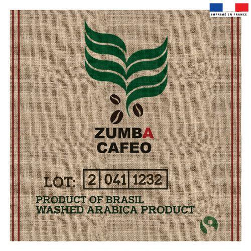 Coupon 45x45 cm motif zumba cafeo effet toile de jute