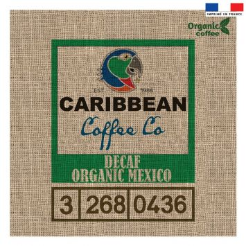 Coupon 45x45 cm motif organic coffee effet toile de jute