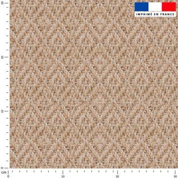 Tissu imperméable beige motif effet rotin