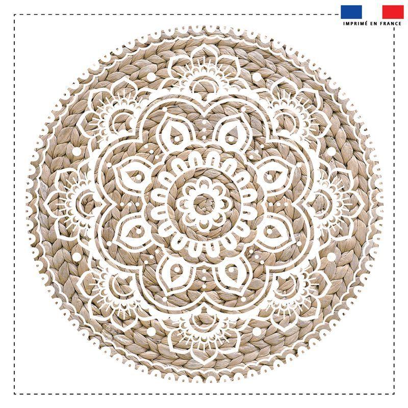 Coupon 45x45 cm pour coussin rond motif mandala effet rotin