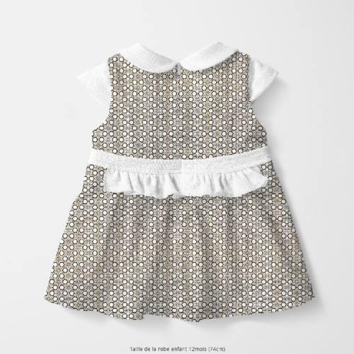 coupon - Coupon 82cm - Coton blanc motif asanoha noir