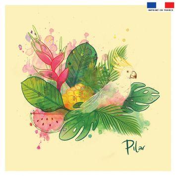 Coupon 45x45 cm jaune flave motif cacaotès exotique - Création Pilar Berrio