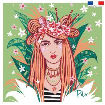 Coupon 45x45 cm vert motif girl et couronne de fleurs - Création Pilar Berrio