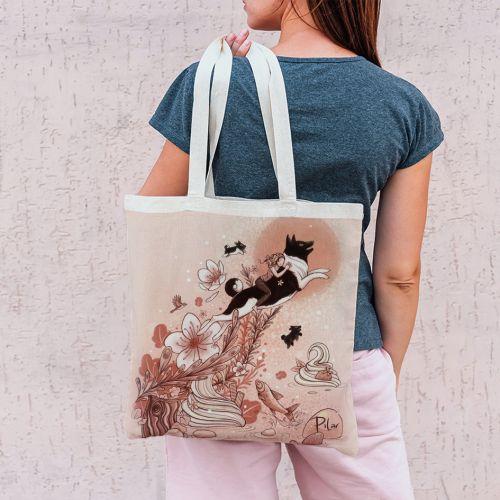 Coupon 45x45 cm rose motif chien et chantilly - Création Pilar Berrio