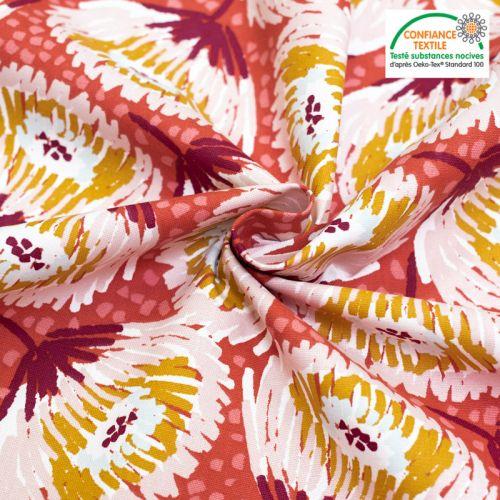 Toile coton rouge imprimée grosse fleur laeticia Oeko-tex