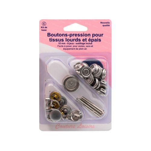 Kit de base boutons pression et outils de pose pour tissus lourds et épais - Nickel x8