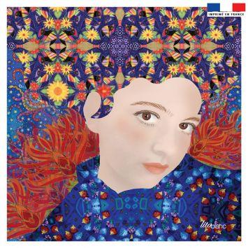 Coupon 45x45 cm bleu motif diva cheveux oranges - Création Lita Blanc