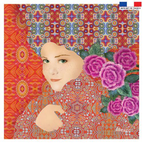 Coupon 45x45 cm orange motif diva et fleur rose - Création Lita Blanc