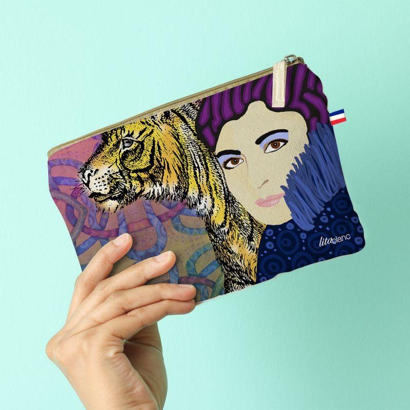 Kit pochette motif diva et tigre - Création Lita Blanc
