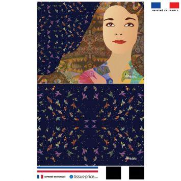 Kit pochette bleu marine motif diva et oiseaux colorés - Création Lita Blanc