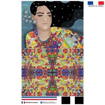 Kit pochette bleu motif diva et étoiles - Création Lita Blanc