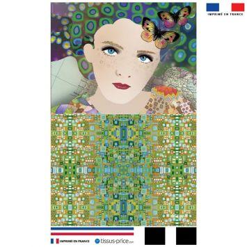 Kit pochette vert motif diva et papillons - Création Lita Blanc