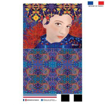 Kit pochette bleu motif diva et cheveux oranges - Création Lita Blanc