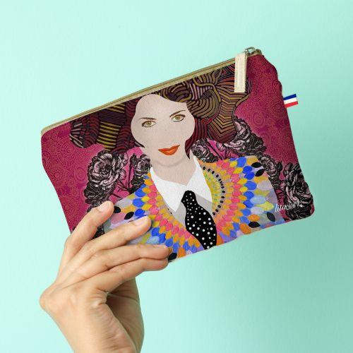 Kit pochette rose motif diva et cravate - Création Lita Blanc