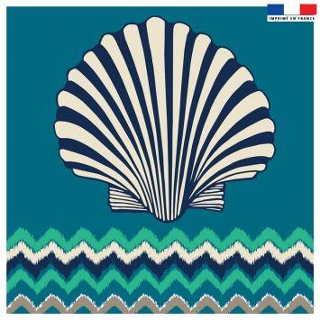 Coupon 45x45 cm bleu motif coquillage et chevron