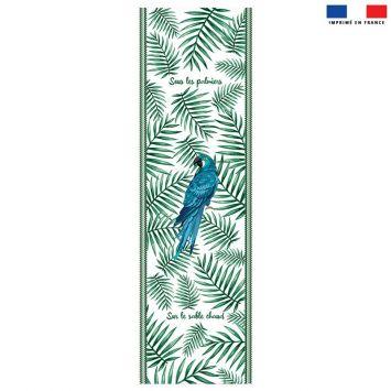 Coupon 45x150 cm tissu imperméable motif perroquet bleu pour transat