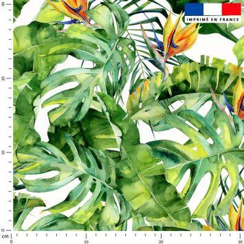 Tissu imperméable motif palme et oiseau du paradis