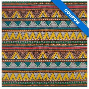 Coupon 50x68 cm - Simili cuir multicolore motif chevrons jaunes