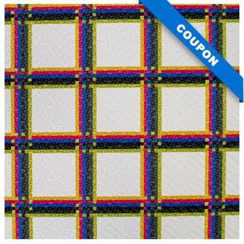 Coupon 50x68 cm - Simili cuir blanc motif tartan noir bleu et rose