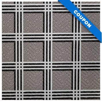 Coupon 50x68 cm - Simili cuir gris motif tartan noir et blanc