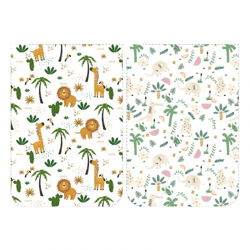 Lot de 5 coupons éponge pour serviettes de table pour enfant motif jungle