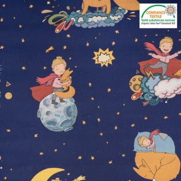 Coton bleu nuit motif Le Petit Prince et le renard Oeko-tex