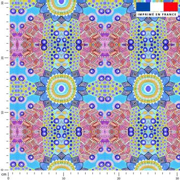 Rosaces bleues - Fond multicolore - Création Lita Blanc