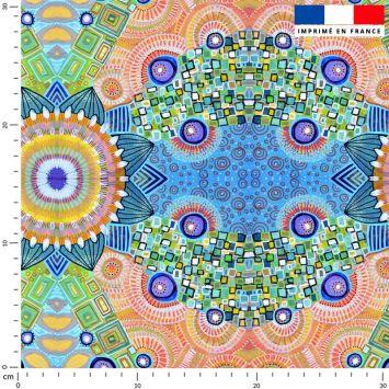Arcs de cercles oranges - Fond multicolore - Création Lita Blanc