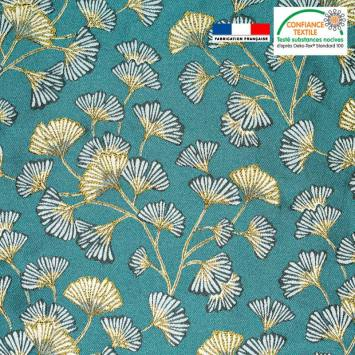 coupon - Coupon 35cm - Jacquard bleu paon motif fleur en éventail ginkgo blanc Oeko-tex