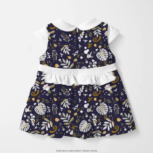coupon - Coupon 58cm - Coton bleu nuit motif mur floral ocre et blanc