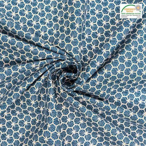 coupon - Coupon 29cm - Coton bleu motif trèfle riad