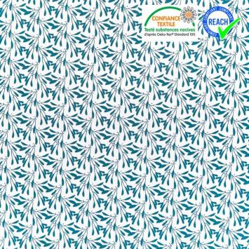 Coton blanc motif branches à feuilles bleu horizon