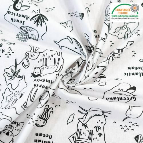 coupon - Coupon 50cm - Coton à colorier motif map zoo Oeko-tex