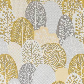 coupon - Coupon 60cm - Jacquard blanc motif arbres style japonais or et argent