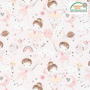 coupon - Coupon 50cm - Coton rose pâle motif danseuse demilune dorée Oeko-tex