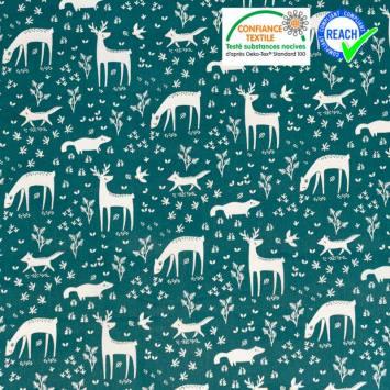 coupon - Coupon 90cm - Coton vert paon motif biche et cerf Oeko-tex