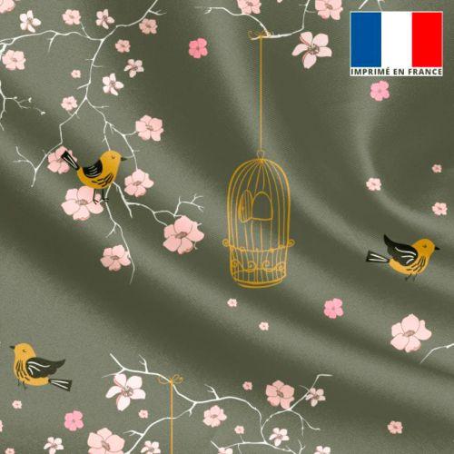 Satin kaki motif fleur de cerisier rose et cage à oiseaux